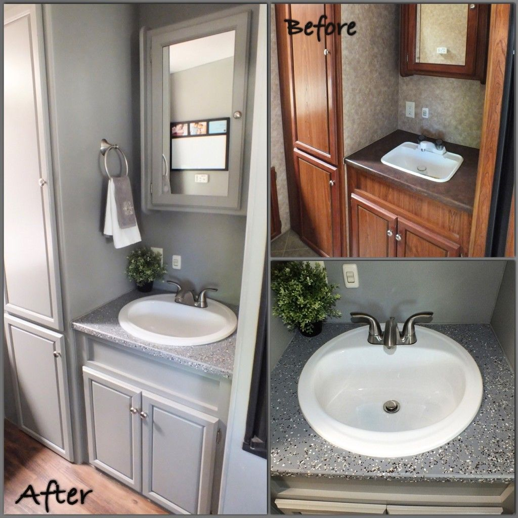 5th Wheel, bathroom, camping, countertop paint, epoxy, fabric, Fifth Wheel