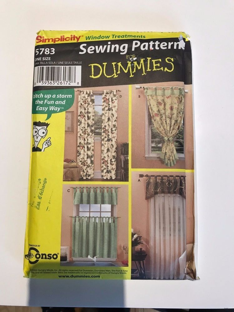 Simplicity Sewing For Dummies Pattern Wrights Window Treatments 5783