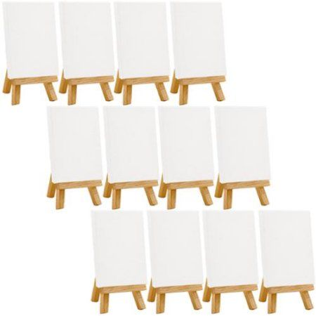 3 in Set of 12 Mini Canvas and Mini Easel Kit x 3 in