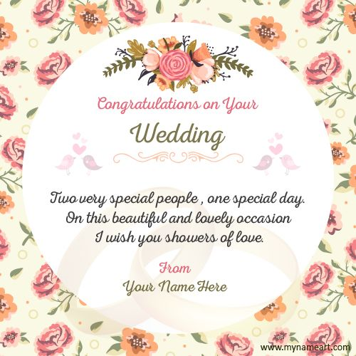 Wedding Congratulations Wishes Images With My Name Create Online