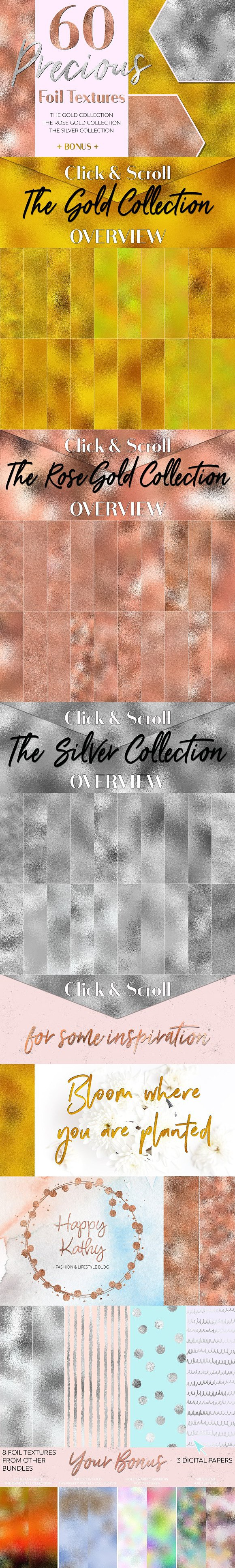 60 Precious Foil Textures. Holographic Backgrounds