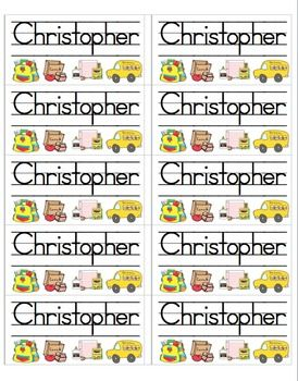 3 page file with 30 name labels.  Just type in your students' names to create your own labels for anything: cubbies, journals, homework folders, et...