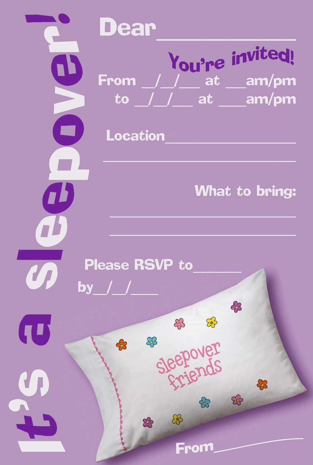 free printable girls slumber party invitations Google Search – Free Printable Party Invitations for Kids Birthday Parties