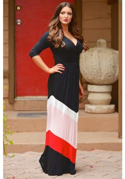3 4 length sleeve maxi dresses for women