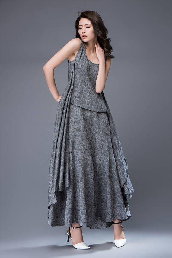 Gray Linen Dress – Layered Flowing Elegant Long Sleeve Long Summer Dress with Scoop Neck Handmade Clothing C881
