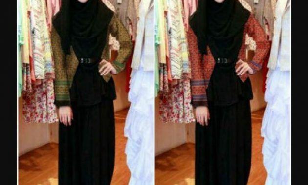 Model Gamis Warna Hitam Kombinasi Blazer Batik Untuk Remaja Model