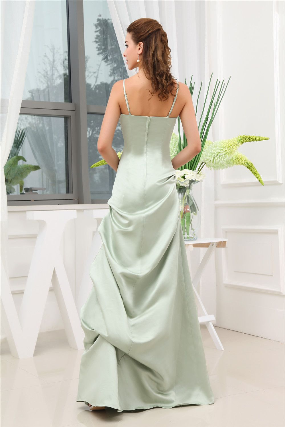 Olive Green Spaghetti Straps Long Mother Of Bride Dresses