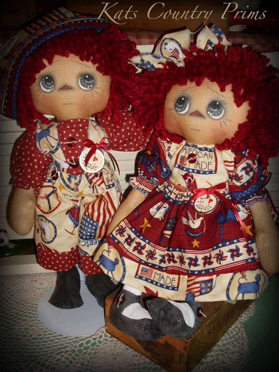 Primitive Raggedy Ann style Pigtail Annie Kats Country Prims Pattern #102