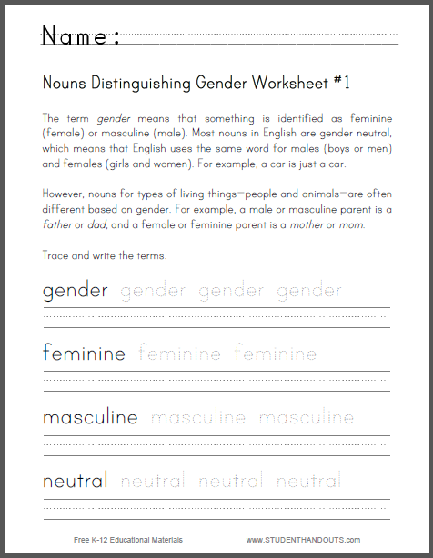 Nouns Distinguishing Gender Worksheet #1. Grade three. Free to print ...