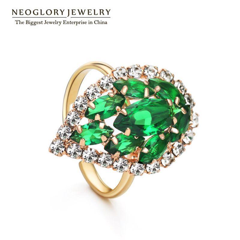 Green aaa Cubic Zirconia Rings for Women Fashion Auden Rhinestone