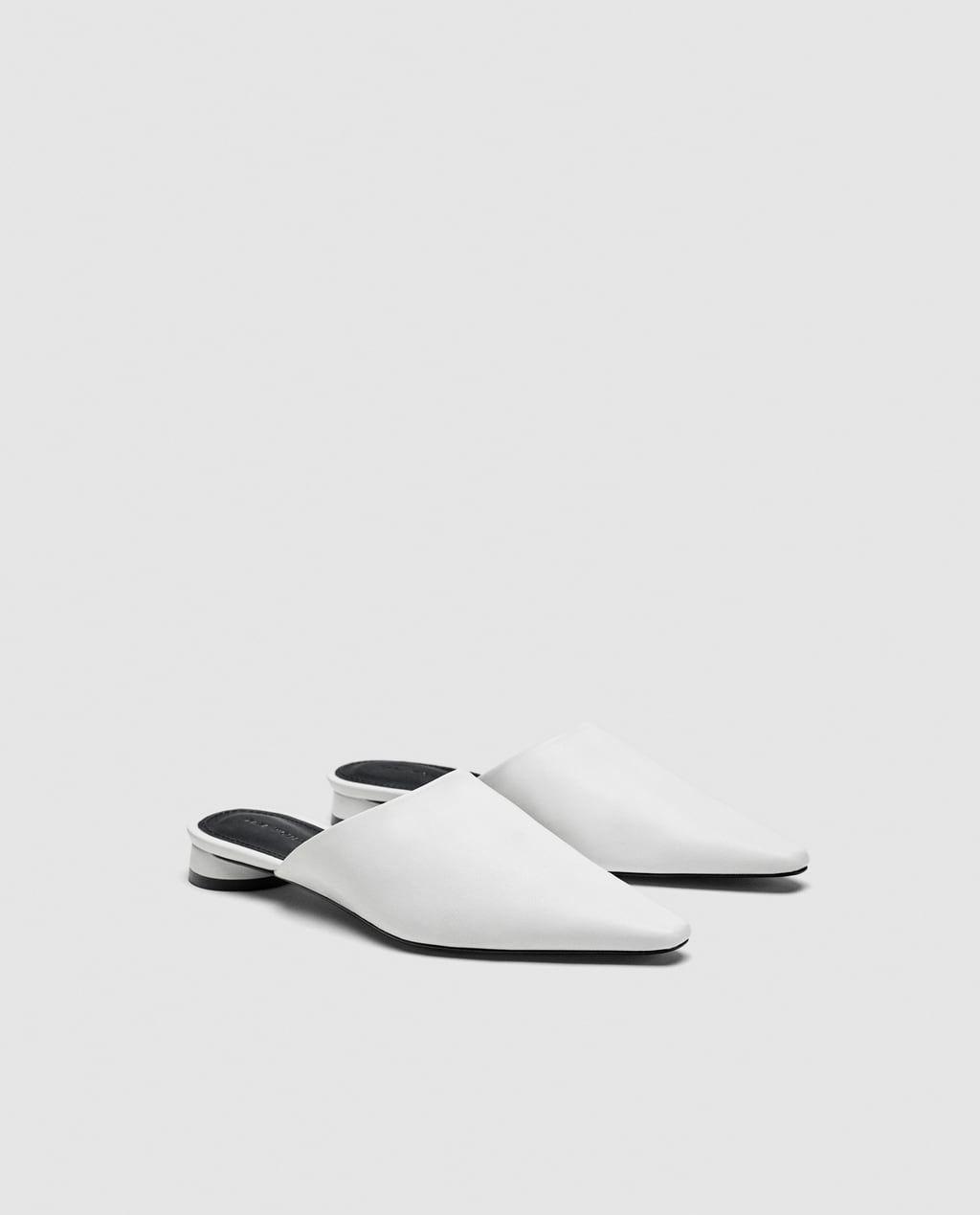 Leather Mules in White @Zara