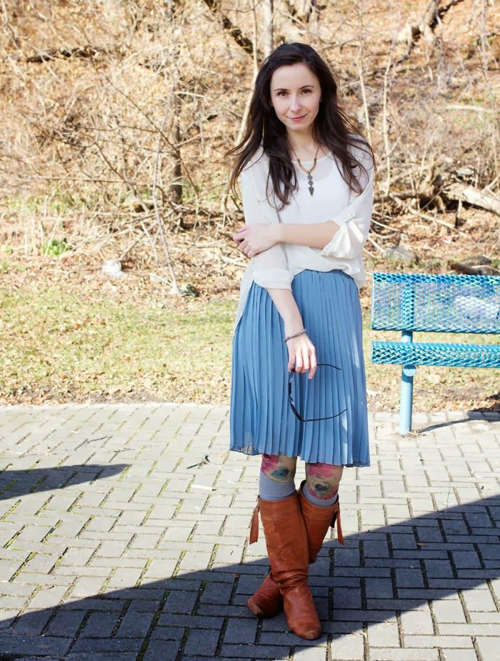 #OOTD with a pleated skirt, polka dot shirt, and socks over tights