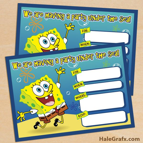 Free Spongebob Invite FREE Printable Squarepants Birthday Invitation
