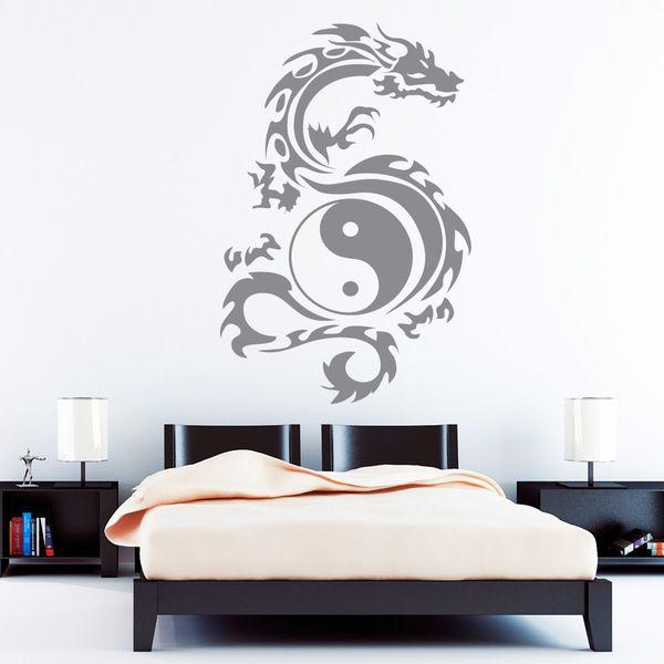 Inspirational Wandtattoo Wandaufkleber Drache Tribal Yin Yang