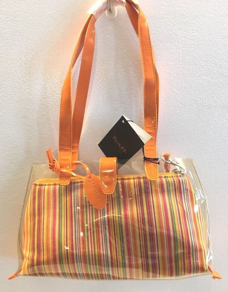 Rolfs Handbag Satchel Clear Vinyl With Multi Color Striped Canvas Clutch New