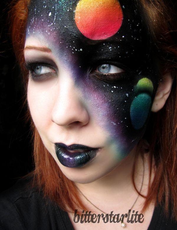 Space Face Beautiful Face Painting Galaxy Makeup Fantasy Makeup