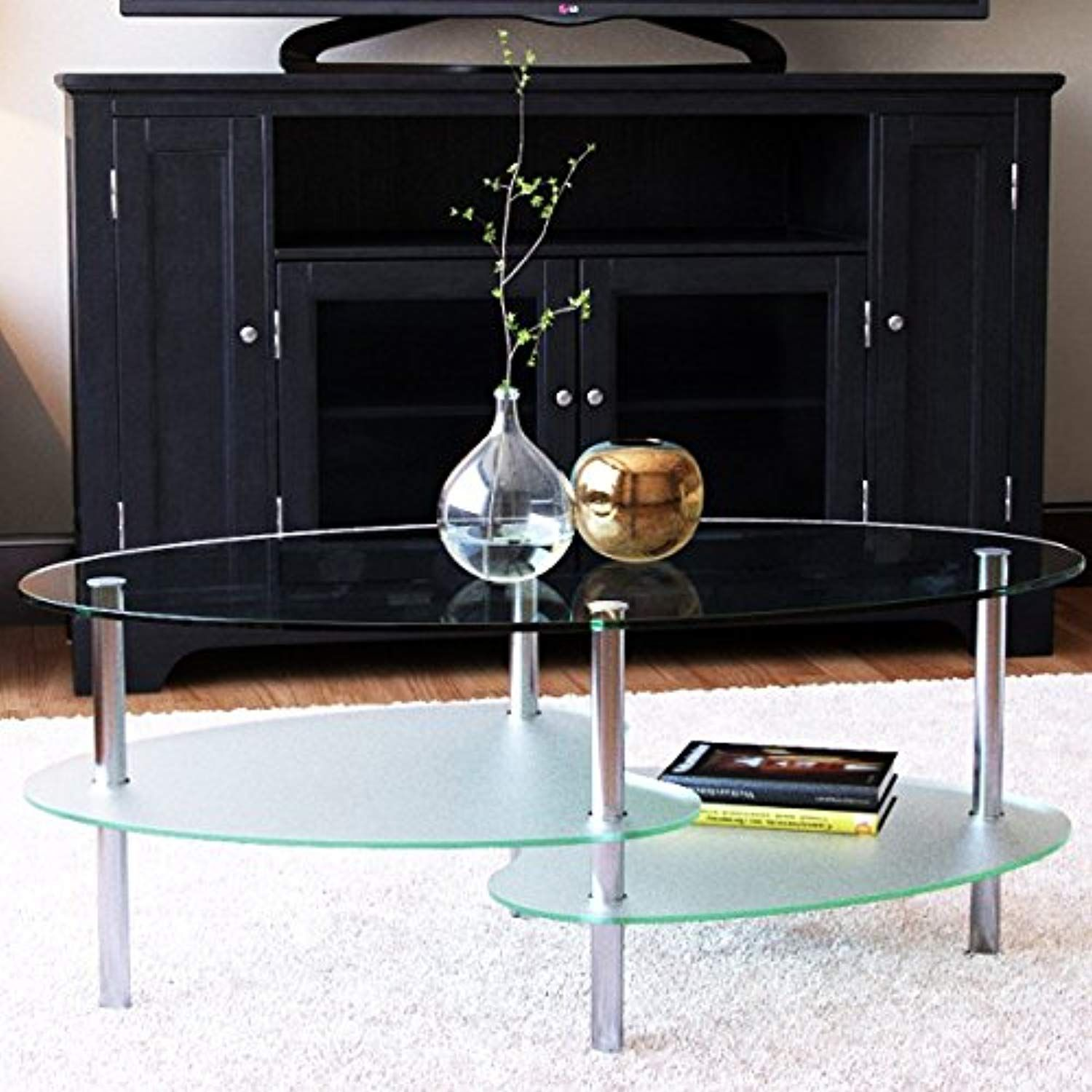 Ryan Rove Fenton 38 Inch Oval Two Tier Glass Coffee Table Continue To The Product At The Image Oval Glass Coffee Table Glass Table Decor Glass Coffee Table [ 1500 x 1500 Pixel ]