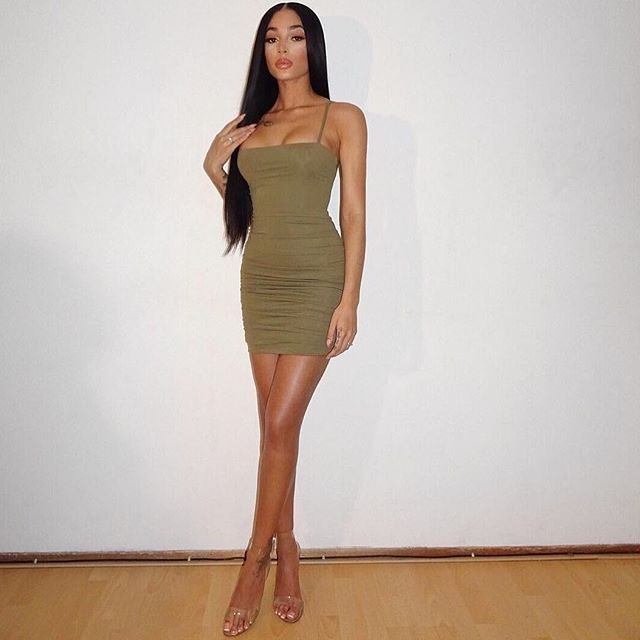 a5b3d54470eff Gorgeous @shanicelberie in the Sophina Olive Green Ruched Back Tie ...