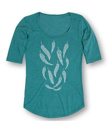 This Heather Turquoise Falling Feathers Three-Quarter Sleeve Tee is perfect! #zulilyfinds