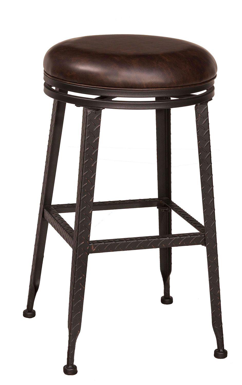 Hillsdale Hale Backless Swivel Bar Stool Black Copper Highlight