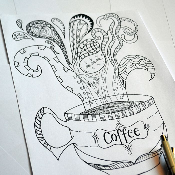 coloring page for adults, doodles, hand drawn, coffee cup | Fantasy ...