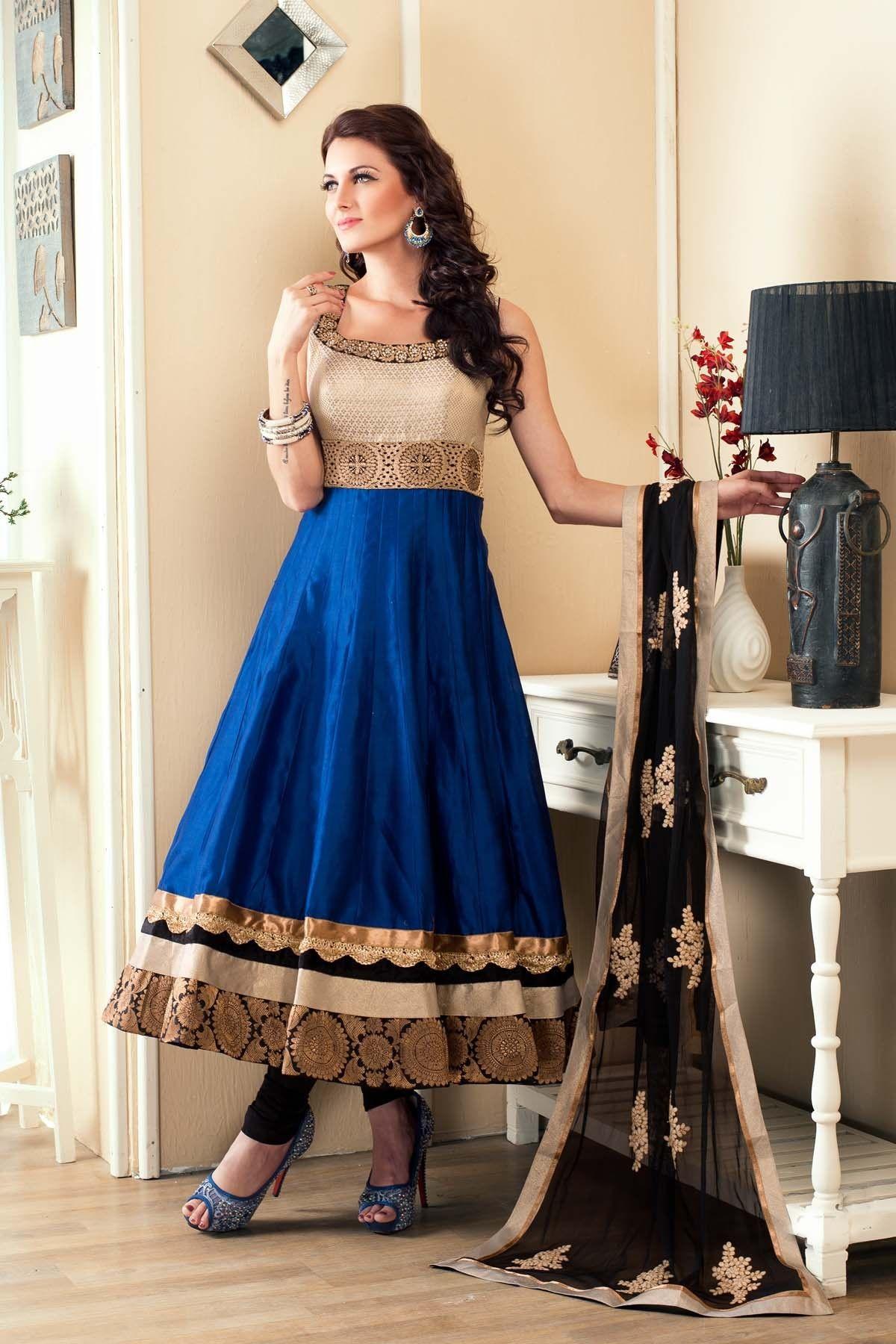White Brocade Royal Blue Anarkali Shalwar Kameez Sl2618 Indian Anarkali Dresses Wedding Dress Suit Indian Outfits,Wearing Mothers Wedding Dress