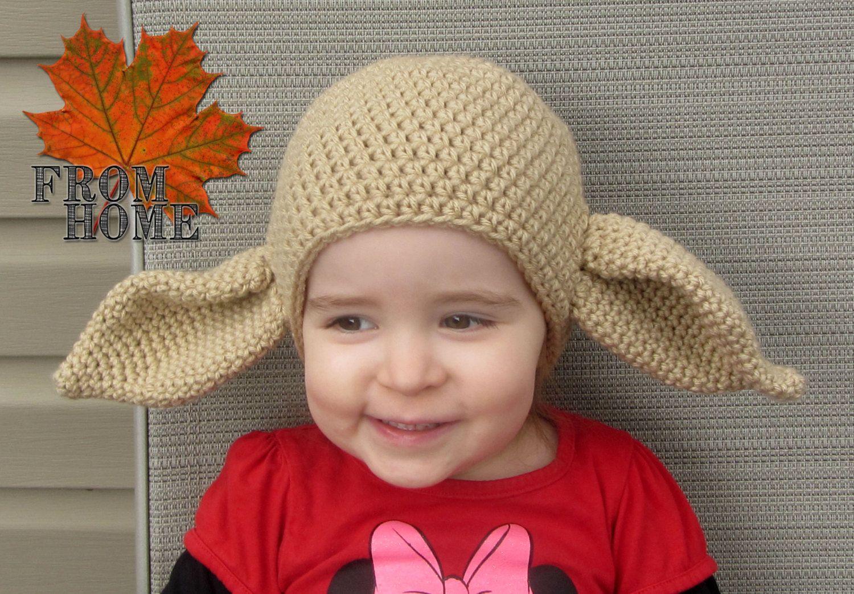 Yoda Dobby The House Elf Crochet Hat Baby Toddler Child Adult