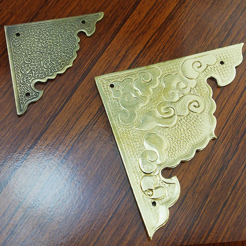 pair of brass corner table corner desk corner brass protectors