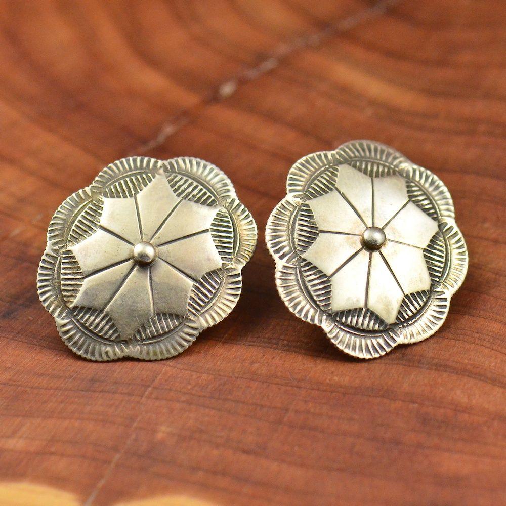 Vintage 900 Coin Silver Navajo Taos Arts Concho 4 9g Stud Earrings OL347 | eBay