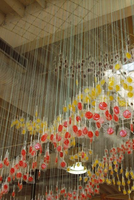 """Hanging Lollipops - Anthropologie Store Window - I like windows that incorporate simple things!"""