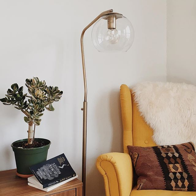 Madrot Glass Globe Floor Lamp Brass Lamp Only   Project 62™