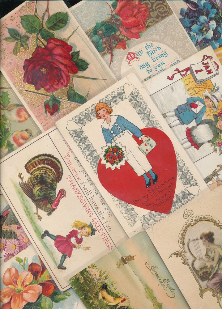 Nice! Vintage/Antique Lot of 1900's Holiday/Greetings Postcards- 25 Cards--a196 #HolidaysGreetings