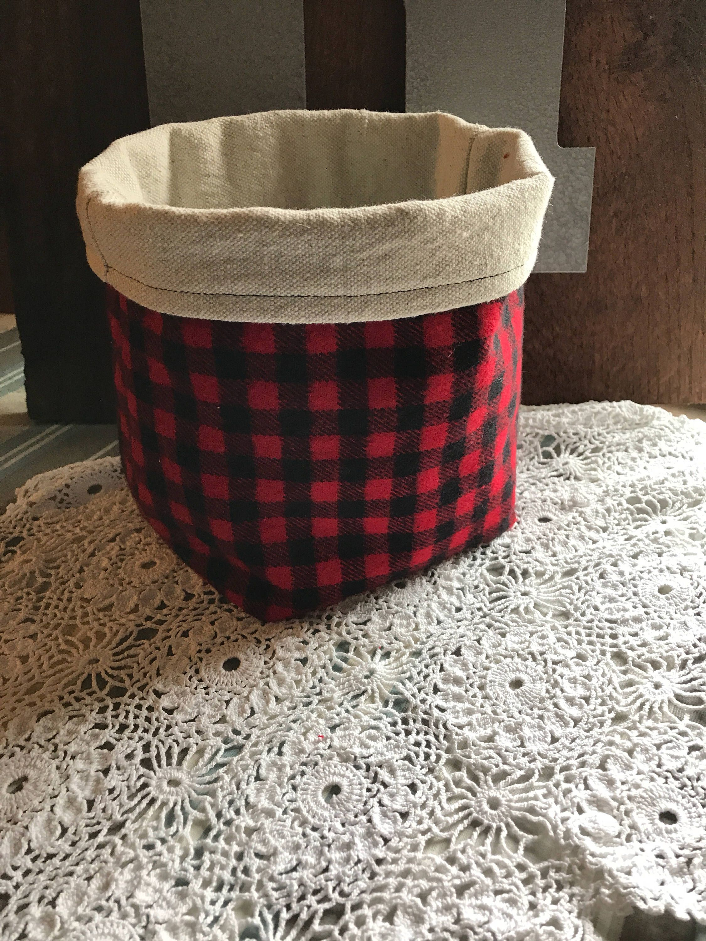 Fabric Storage Bin, Buffalo Plaid Storage Bin, Handmade REVERSIBLE Storage  Basket, Storage Basket, Nursery Decor