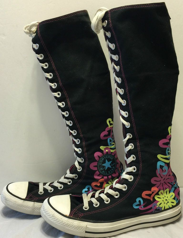 5ade9079238d Converse All Star Tall Flowers Hearts Lace Up Shoes Size 7 Chuck Taylors  Boots in Clothing