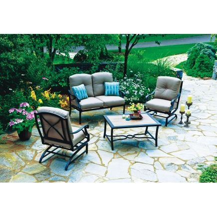 Superieur Somerset 4 Piece Deep Seating Set   Mushroom   All Patio Collections   Ace  Hardware