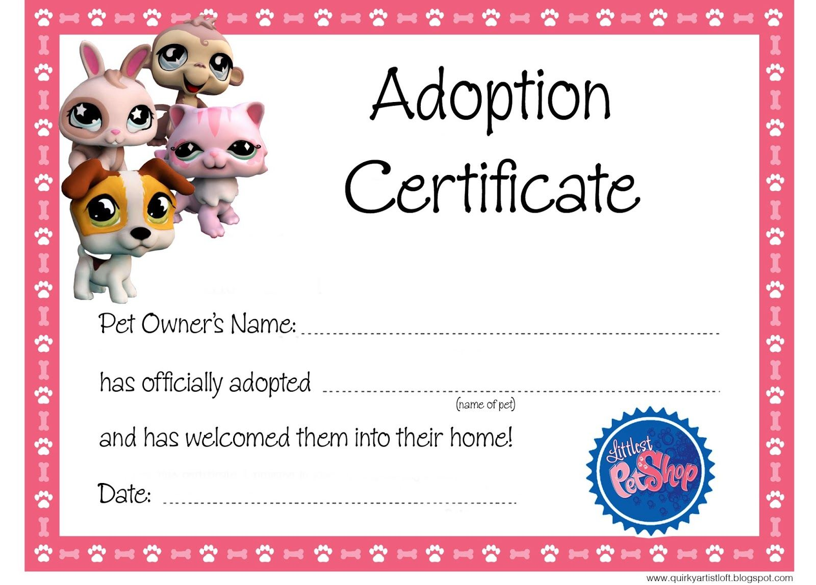 25 unique adoption certificate ideas on pinterest paws adoption quirky artist loft littlest pet shop party free adoption certificate yadclub Gallery