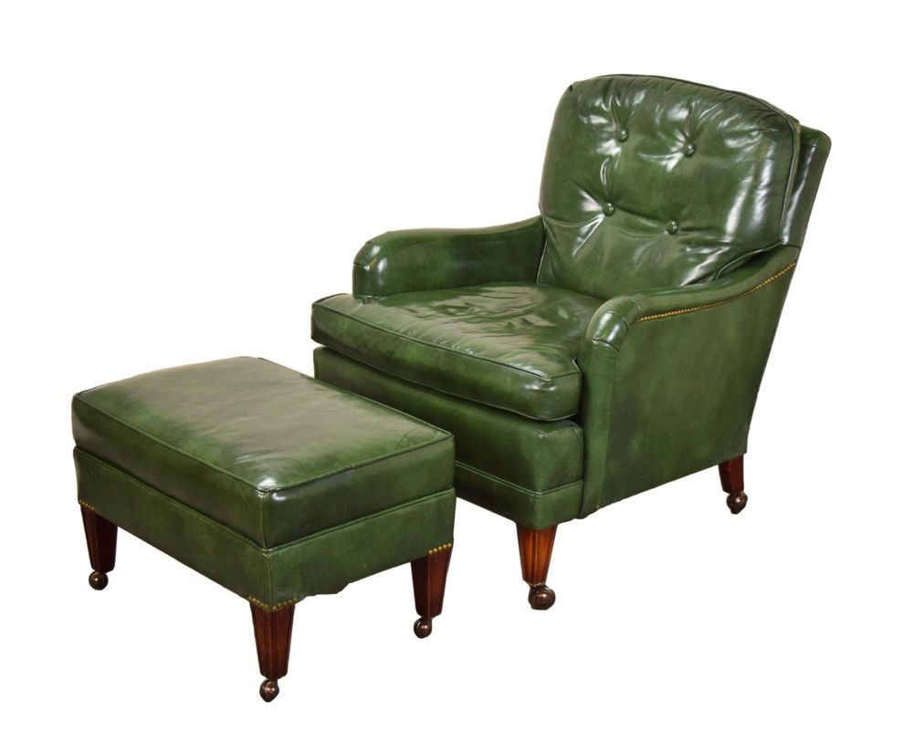 Leather Chairs With Ottoman Vintage Hickory Chair Company Green Leather Club Lounge Chair W
