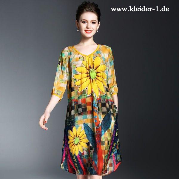 Buntes Midi Sommerkleid mit Sonnenblumen aus seide | Kleider ...
