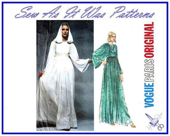 2d1457ffa491e 1970s Vogue Paris Original 1553 Christian Dior Evening Dress High Waist  Flared Sleeves Hood Vintage Sewing Pattern Size 10 Bust 32