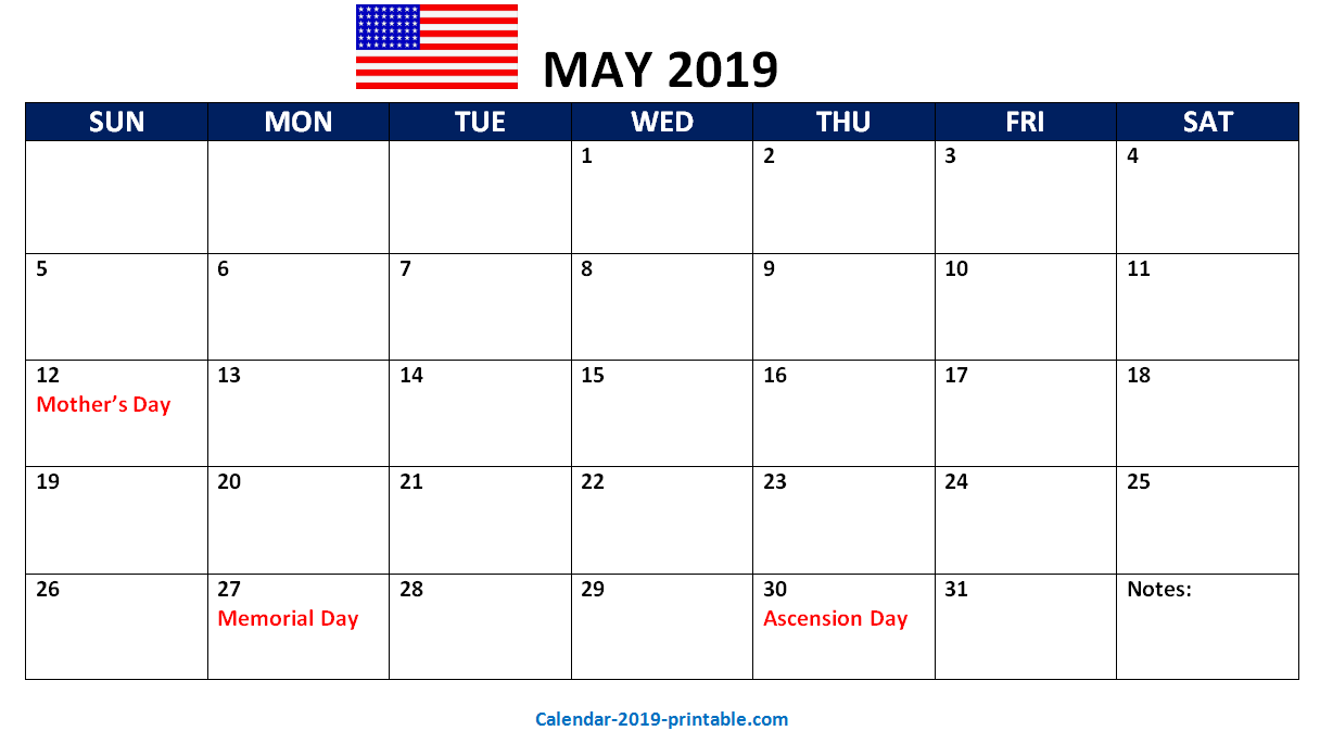 United States 2019 Printable Calendar Download With Images