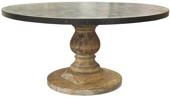 Noir Gtab445 Zinc Top Table Old Wood Base Round Dia 60 H 30
