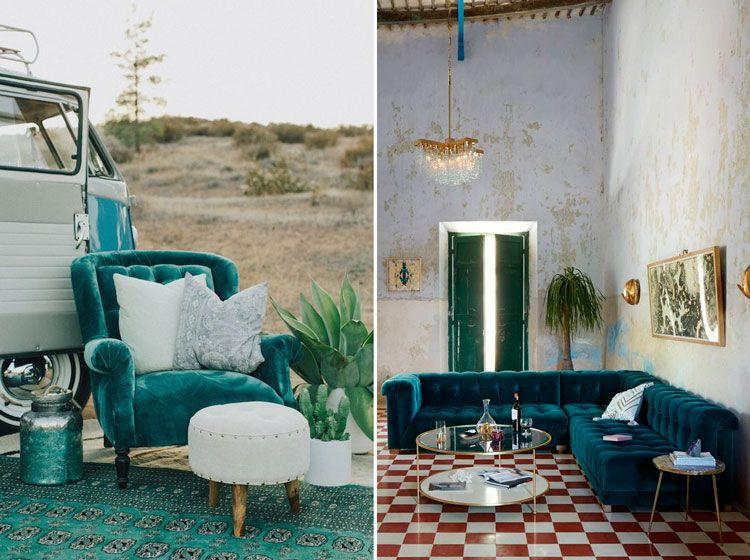 Terciopelo en color turquesa para tapizado en capitoné - Ámbar ...