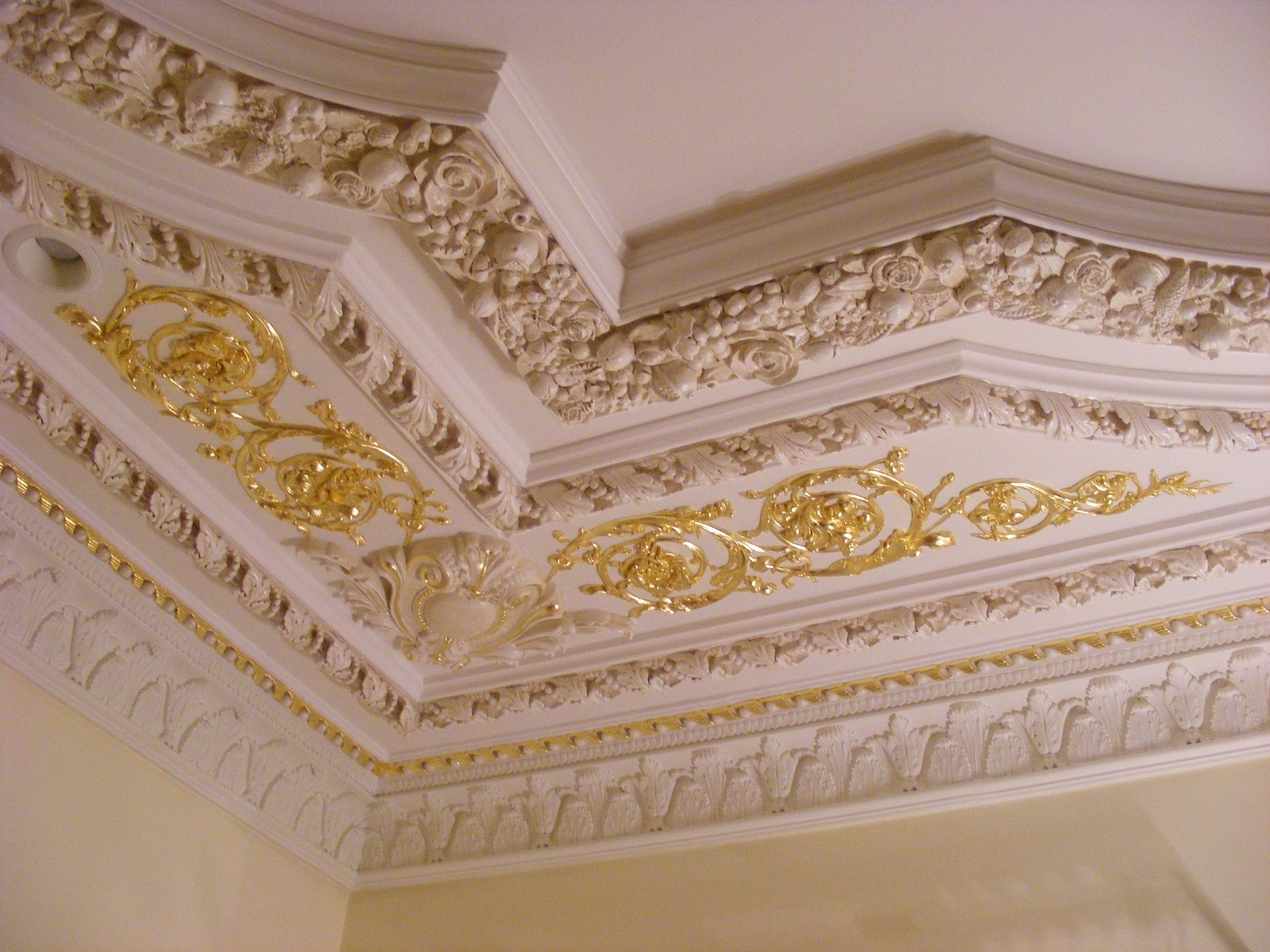 Ornate Wall And Crown Mouldings Combined With Scroll Work Ornaments From Decorators Supply Crown Molding Lights Ceiling Design Painted Ceiling