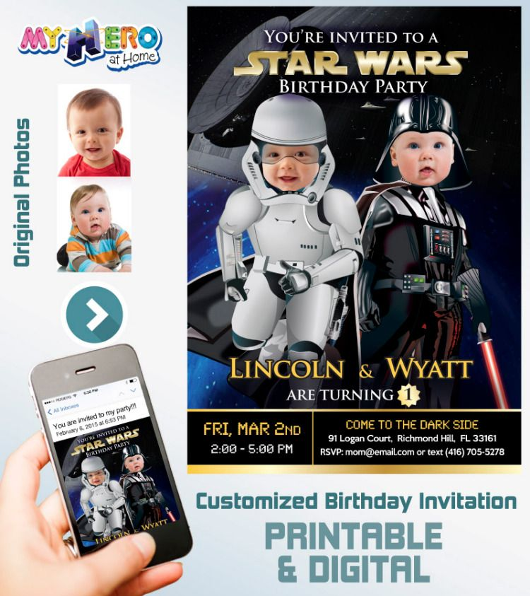 Star Wars 1st Birthday Invitation For Twins Joint Baby The Dark