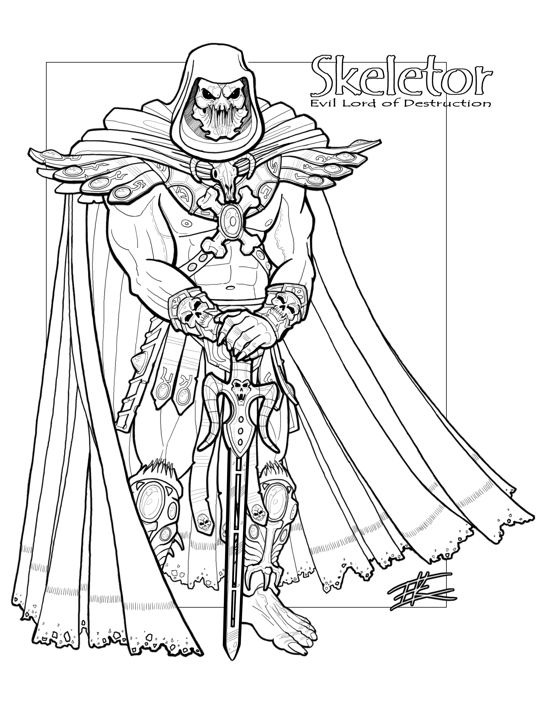 Skeletor_LineArt.png (1845×2415) Adult coloring pages