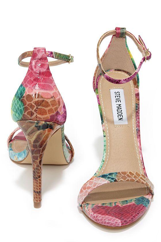f639f736979 Steve Madden Stecy Floral Snakeskin Ankle Strap Heels at Lulus.com!