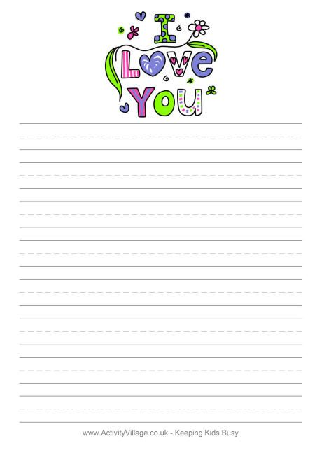fun writing paper for valentine 39 s day available blank with handwriting lines for younger kids. Black Bedroom Furniture Sets. Home Design Ideas