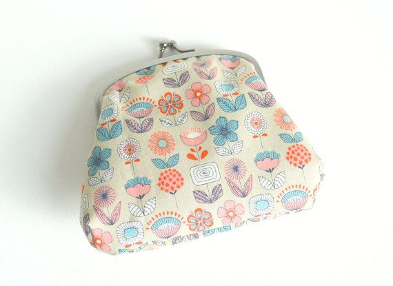 Small Clasp Pouch - Retro Flowers in Blue, Pink and Cream