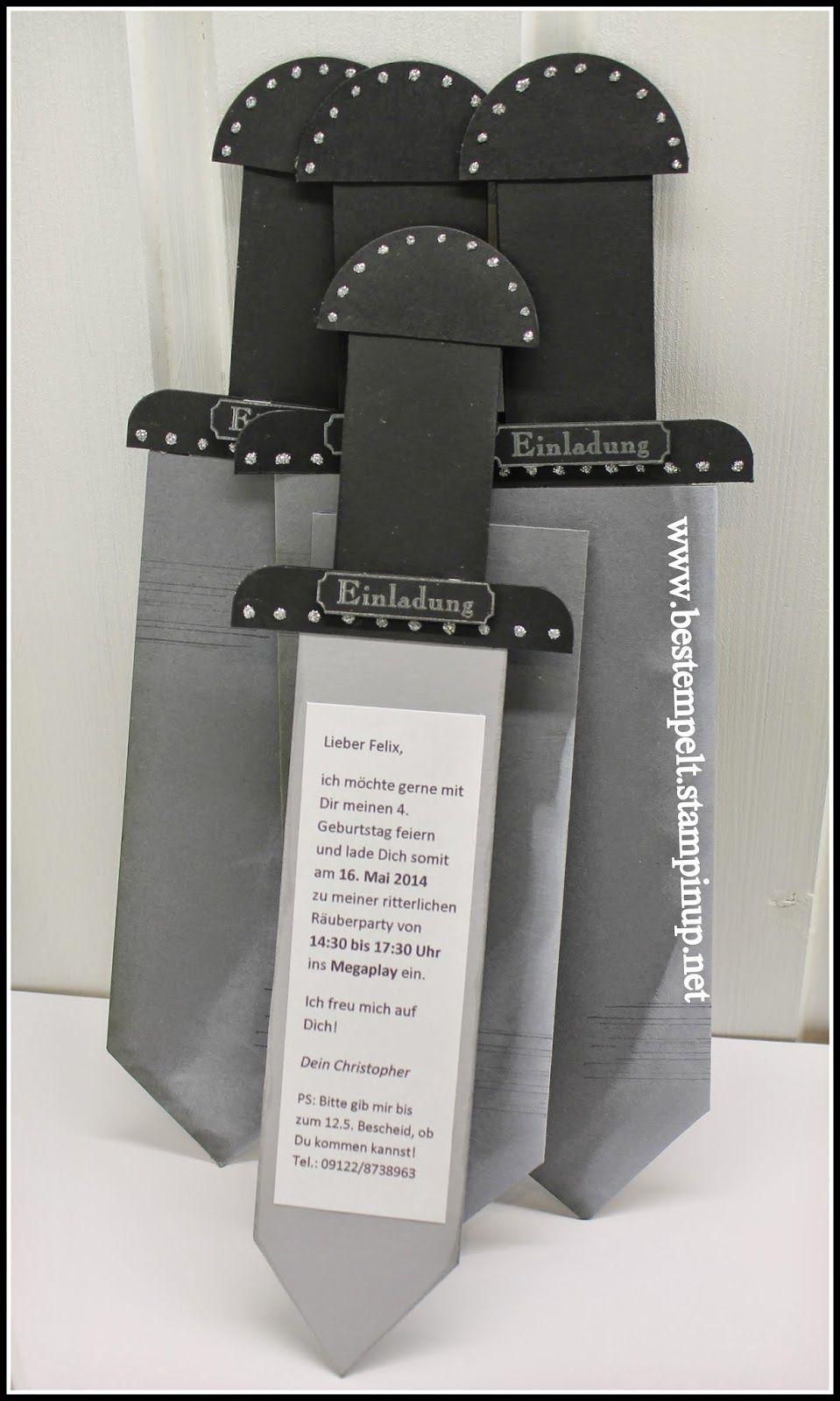 Einer Fur Alle Sword Card Einladungskarte Basteln Schwert