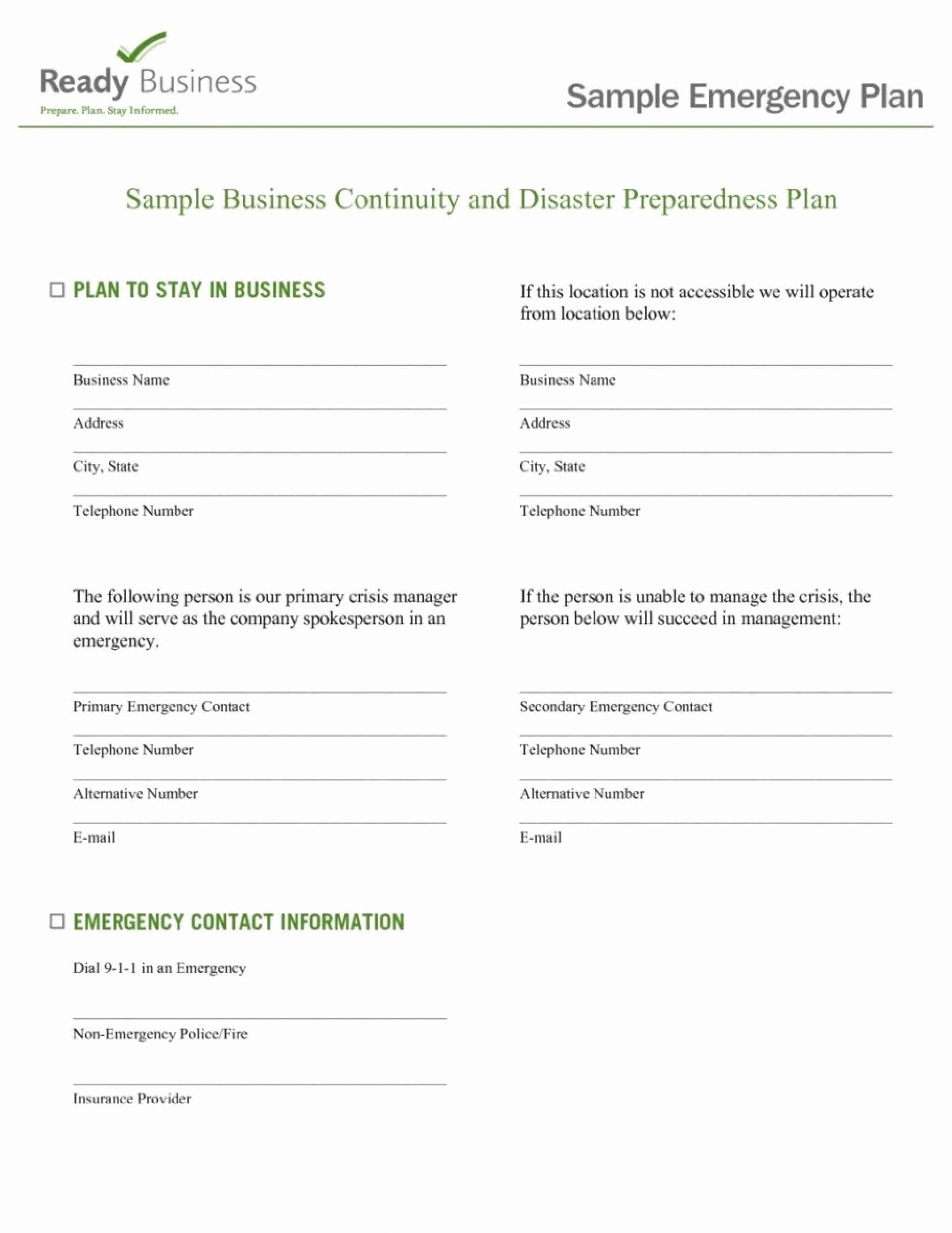 Hospital Emergency Preparedness Plan Template New